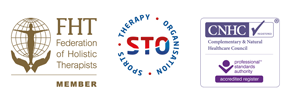 Membership with Sports Therapy Organisation – MSTO & Federation of Holistic Therapy – FHT. CNHC Registered for Massage Therapy and Sports Therapy.